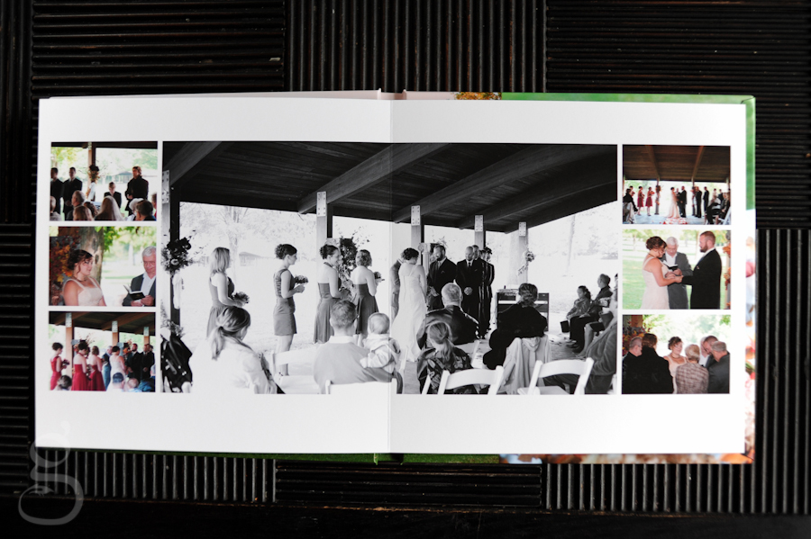 wedding album spread during the ceremony.