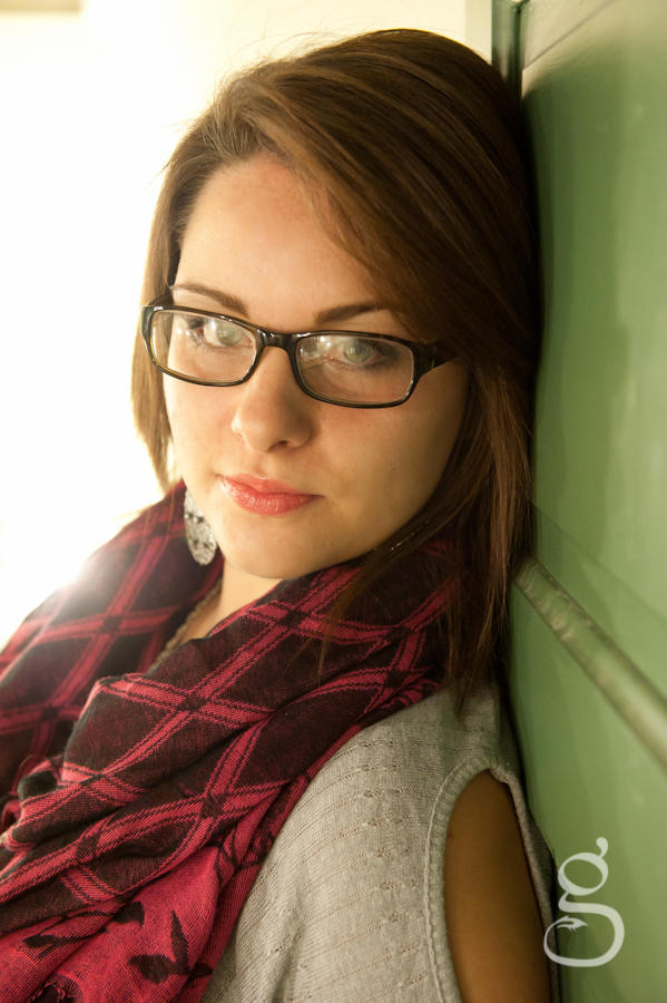 burgundy scarf, glasses and green door for the senior session.